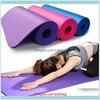 Mats Supplies Sports & Outdoors10Mm Quality Nbr Yoga With Carry Rope 183*61Cm Non-Slip Thick Pads Fitness Pilates Mat For Outdoor Gym Exerci