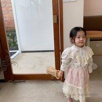 Girls floral printed dresses kids lace gauze embroidery falbala princess dress+splicing tulle apron 2pcs sets children clothing Q2129