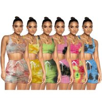 Women's Tracksuits Chiclover Summer Sexy Tracksuit Wholesale Items Sporty Fitness Tie Dye Jacquard Women Two Piece Set Vest And Shorts Drop