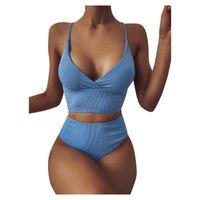 Women's Swimwear Women Swim Suit Solid Color Sexy Bikini Monokini Striped Push Up High Cut Hight Waist Halter Set Two Piece Swimsuit