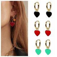 Hoop & Huggie CANNER Selling Copper Earrings For Girl Colorful Dripping Oil Craft Heart-shaped Huggies Delicate Jewelry 2021 Trend