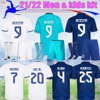21 22 Alta Qualidade Real Madrid Hazard Futebol Jerseys 2021 2022 Jogador Versão 3rd Mbappe Asensio Men Kit Alaba Modric Benzema Vinicius Crianças Futebol Terno
