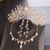 Crockoonboon الذهب التيجان الزفاف تياراس خوذة الشعر قلادة أقراط مجموعة اكسسوارات مجوهرات الزفاف مجموعة بلينغ بلينغ