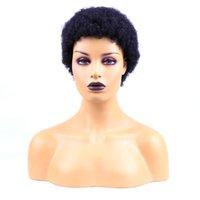 Brasilas brasileñas Afro Kinky pelucas rizadas para mujeres negras Peluca de no encaje 100% Pelucas de cabello humano Perruque Cheveux Humain Pixie Cut Wig