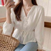 Shintimes v-образным вырезом белая блузка утончатая повседневная женщина одежда падение кружева с длинным рукавом рубашка женские блузки рубашки хемище Femme