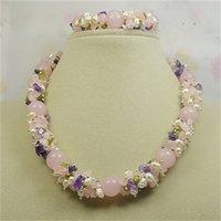Pulseira do colar de pedra, pérola cor-de-rosa de Olivine mistura o pendurar, jóia perfeita artesanal da gema.