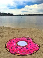 Summer Fruit Beach Towel Pizza Burger Skull Ice Cream Strawberry Round Beach Bath Towel Cushion Floor Mat Swimsuit Wrap Towel Shawl FWF8340