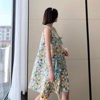 Maternity Dresses 9819# Summer Korean Fashion Floral Print Cotton Dress Vest Tank Loose Clothes For Pregnant Women Sleeveless Pregnancy