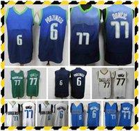 2021 Mens Swingman Basketbol Formaları Dikişli Şehir Dallases Edition Luka Doncic 77 Kristaps Porzingis 6 Jersey