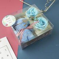 Muttertagsgeschenk Kundengebundene Bärtuch Geschenkbox, Weihnachtseife Blume transparentes Geschenk, kreative und praktische Förderung von Geschenken DHD
