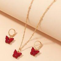 الملحقات ins صافي الأحمر متعدد الألوان فراشة قلادة القرط مجموعة مزاجه المجوهرات الصغيرة