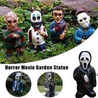 Horror Film Toy 15cm Garden Gnomes Décoratif Killer Gnome Ornement De Undead Halloween Sculpture Patio Extérieur Pelutique HWA8551