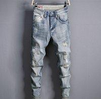 Летние тонкие моды прилив джинсы дыра промывают светло-цвет джинс мужские тонкие карандашные брюки модный стиль джинсовой ткани