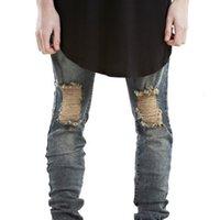 Mens Ripped Biker Jeans Motorcycle Slim Fit Washed Pants Black Grey Blue Moto Denim Pants
