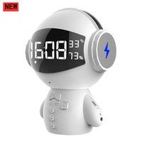 Portable Bluetooth Haut-Parleur LED Affichage de l'affichage de l'écran de réveil FM Radio K Song MIC Subwoofer Subwoofer Robot Son Player Téléphone Chargement du Trésor MP3