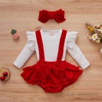 Baby girls christmas party sets toddler kids falbala fly sleeve T-shirt+velvet suspender romper+Bows headbands 3pcs Xmas infant princess outfits Q2755