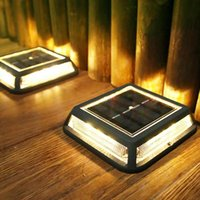 Solar Lamps HQXING Dock Lights Outdoor Auto Dusk To Dawn Powered Deck For Driveway Walkway Stairway Backyard 4Pack