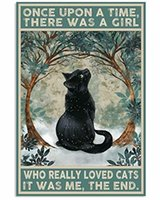 Tin Sign Cat Once Upon A Time There was A Girl Poster Street Garage Family Cafe Bar Farm Bathroom Door Wall Decoration Retro Q0723