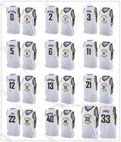 MENS DOMANTAS SABONIS 11 MYLES TURNER 33 CARIS LOVER 22 CIUDAD EDICIÓN BLANCA DE LA CIUDAD PRENSA CALIENTE Jerseys de baloncesto Pantalones de camisetas cosidas