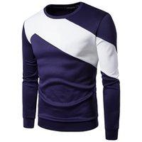 ZOGAA Men's Long Sleeved T-shirt Sweater Stitching Loose Sweatshirts 211027