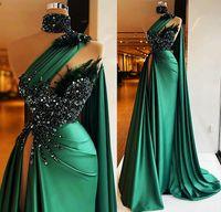 Sexy caçador verde cetim sereia vestidos de festa de pré-vestido um ombro alto pescoço frisado penas plus size formal noite vestidos de ocasião 2021