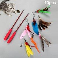 10шт PET CATS TEASER TEASER RATHABLE палочка палочка стержень сменные головы игрушечные игрушечные нетоксичные игрушечные игрушечные кошки более чувствительны