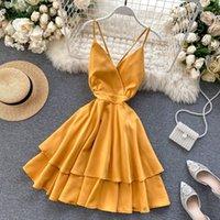 FMFSSOM Летний весенний Пляж Праздник V-образным вырезом От спинки Орученные Орфлки Торты Твердые Элегантные Женщины Леди A-Line Высокое Платье Талия 210304