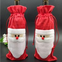 Neue Santa Wine Bags Weihnachtsgeschenkbeutel Dekorationen Rotwein Flasche Abdeckung Taschen Weihnachten Santa Champagne Weinbeutel Weihnachtsgeschenk 13 * 32 cm WY941 ZWL
