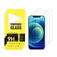 Protector de pantalla de vidrio templado de teléfono celular para iPhone 6 6s 7 8 Plus x xr xs 11 12 Mini por max película con paquete minorista