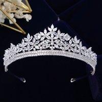 Bavoen Top Qualität Königsfräglich Zirkon Bräute Tiaras Krone Silber Kristall Braut Haarbänder Kopfschmuck Hochzeit Haarschmuck 210203