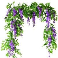 꽃 문자열 인공 등나무 포도 나무 garland 식물 단풍 야외 홈 후행 꽃 가짜 교수형 벽 장식 gwb333