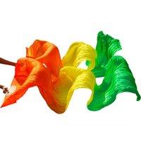 Сценическая одежда 180 * 90 см. Женский костюм бамбук длинные шелковые вентиляторы вентиляторы ручной работы красочный танец живота апельсин + желтый + зеленый