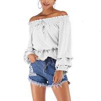 VICABO Beyaz Bluz Kadın 2020 Yaz Slash Boyun Giyim Kısa Şifon Bluzlar Nokta Baskılı Sokak Giymek Rahat Moda Gömlek