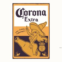 Corona Extra Beer Affiche en métal Signes en métal Stickers muraux rétro pour bar Pub Cafe Décoration Art Plaque Vintage Home Decor HWD5335