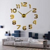 Relojes de pared 2021.Sale Sala de estar real 3d espejo STICKE Big Reloj Decoración del hogar Acrílico DIY Reloj pegatinas