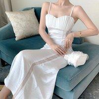 2021 Yeni Varış Saten Maxi Beyaz Seksi Kolsuz Elbise Kadınlar Uzun Plaj Kabuk Tasarım Dantel Patchwork Vestidos