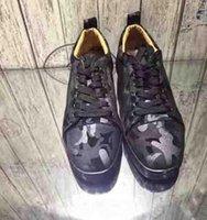 LOUBOUTIN CHRISTIAN 2020 Men Low Cut Camo Men Shoes Red Bottom Sneakers Camo Rantus Shoes Junior Lace-up Men's Flat shoes Party Dress We wgA