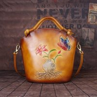 Evening Bags 2021 Chinese Style Cow Leather Embossed Hand Painted One Shoulder Slant Cross Portable Bucket Bag