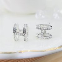 Choucong Brand Luxury Jewelry Stud Earrings Real 925 Sterling Silver Pave White Sapphire CZ Diamond Gemstones Party Women Wedding Letters Earring For Lovers' Gift