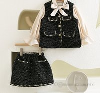 Lady style children sequins woolen clothing sets girls lace-up Bows tie falbala sleeve outwear tops+skirt 2pcs autumn kids outfits Q1100