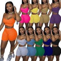 Designer Sommer Frauen Trainingsanzüge 2 Stück Set Shorts Outfits Solid Color Casual Womens Kleidung Sexy Hosenträger Tops Anzug Plus Größe