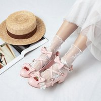 Dress Shoes Bow Sweet Lovely Single Shoe Student Lolita Fairy Middle Heel Soft Sister Lo Women Pumps