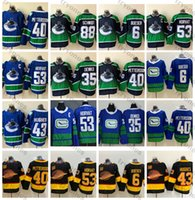 2021 Reverse Retro 밴쿠버 Canucks Hockey Jerseys Classic 53 Bo Horvat 6 Brock Boeser 40 Elias Pettersson Quinn Hughes 88 Nate Schmidt 35 Thatcher Demko 50th Shirts