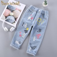 Bear Leader Girls Kids Jeans New Fashion Baby Girl Denim Pants Toddler Cartoon Pattern Leggings Children Outfits for 2 6 Years