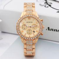 Ginebra Reloj de lujo Mujer Diamante Crystal Fecha Reloj Rosa Ginebra Ginebra Ginebra Reloj de acero inoxidable Damas Calendario Vestido Cuarzo Reloj de pulsera de regalo