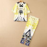 2021 Autumn Luxury Yellow Paisley Print 3 4 Sleeve Round Collar Beads Rhinestone Top & Beaded Elastic Waist Pants 2 Pieces Set Suit Twopiece Sets S0721210707