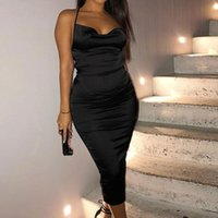 Satin Lace Up Summer Womens Dresses Bodycon Long Midi Sleeveless Backless Elegant Party Outfits Sexy Slim Club Camis