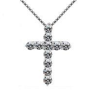 HBP Fashion New Sterling Silver Zircon Cross Pendant, collana coppia alla moda e versatile