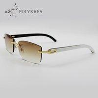 نظارات الشمس الفاخرة الجاموس القرن نظارات الرجال النساء النظارات الشمسية العلامة التجارية مصمم أفضل جودة أبيض داخل بلاك بوفالو القرن
