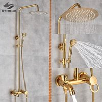 """Ouro polonês banheiro chuveiro chuveiro chuveiro banho mixer tap 8 """"chuveiro cabeça conjunto sistema banheira de banheira montada na parede"""